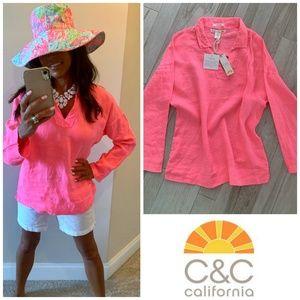 C & C California Neon Pink Linen Oversized Tunic